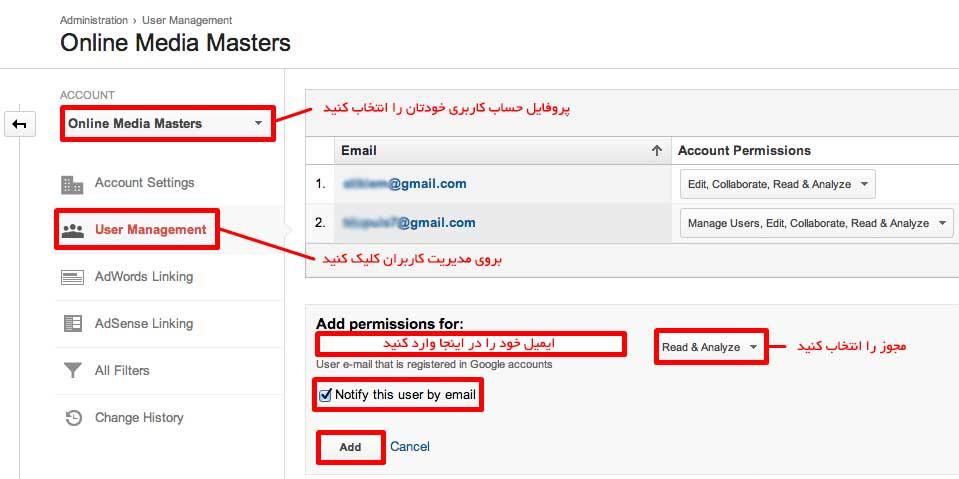 اضافه کردن کاربر به گوگل آنالاتیکس